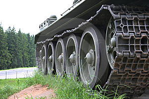 Heavy Tank Track Close-up Of Wheels Stock Photo - Image: 10081320