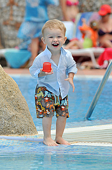 Baby On A Swiming-pool Stock Images - Image: 10081614