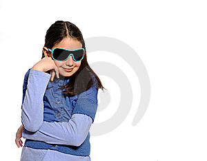 Cute Girl In Blue Outfit And Blue Sunglasses Stock Images - Image: 10083344