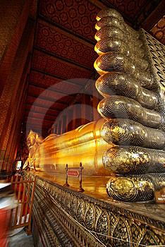 Foot Of Giant Sleeping Buddha Statue Stock Images - Image: 10083714
