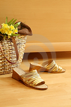 Female Summer Footwear, Bag And Flowers Royalty Free Stock Image - Image: 10088526