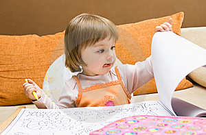 Baby Girl Drawing Stock Photography - Image: 10093632