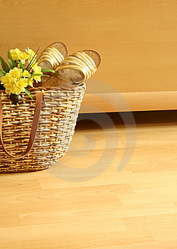 Beach Bag With Summer Footwear And Flowers Stock Photos - Image: 10093793