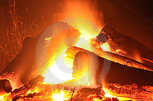 Logs In The Fire Royalty Free Stock Photos - Image: 10094488