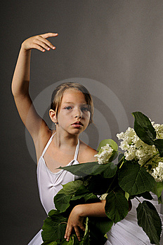 Ballerina With Flowers Stock Photo - Image: 10094990