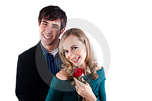Happy Couple With A Rose Stock Photo - Image: 10096270