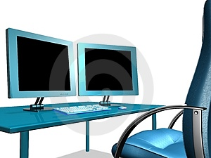 OFFICE LCD MONITOR Royalty Free Stock Photo - Image: 1013425