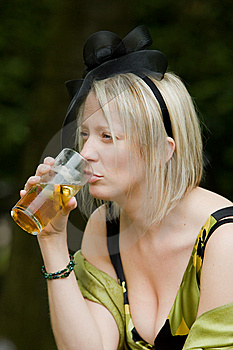 Party Girl Drinking Beer Royalty Free Stock Photo - Image: 10100285