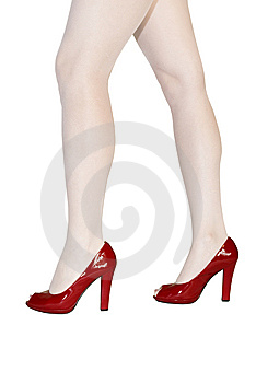 Woman Legs In Red Shoes Stock Photo - Image: 10100610