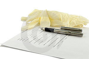 Glove, Ink Pen And Form Of Recipe Royalty Free Stock Photography - Image: 10101297