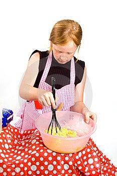 Redhead Girl Is Making Pancake Dough Stock Photo - Image: 10104230