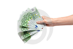 One Hundred Euro In Feminine Hand Royalty Free Stock Photo - Image: 10104535