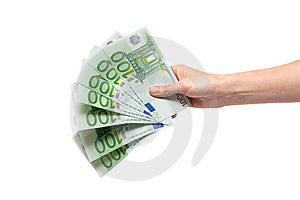 One Hundred Euro In Feminine Hand Royalty Free Stock Photo - Image: 10104535