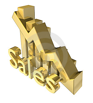 Sales Statistics Graphic In Gold Stock Image - Image: 10105031