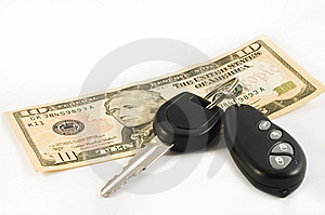 Car Key And A Ten US Dollar Bill Stock Images - Image: 10105464