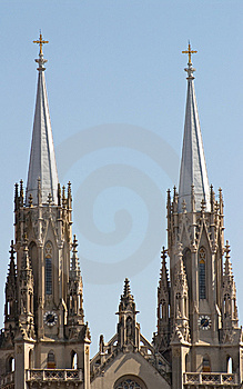 Two Towers Of Catholic Cathedral Stock Photography - Image: 10107052
