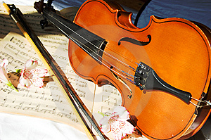 Violin on music sheet Royalty Free Stock Photos
