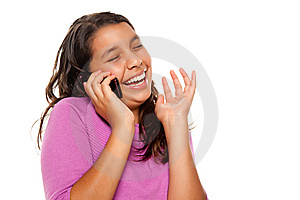 Happy Pretty Hispanic Girl On Cell Phone Stock Images - Image: 10110294