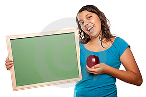 Pretty Hispanic Girl Holding Blank Chalkboard And Royalty Free Stock Images - Image: 10110399