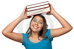 Pretty Hispanic Girl With Books On Her Head Royalty Free Stock Images - Image: 10110419