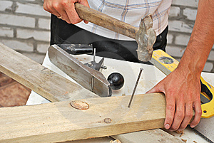 Hammer Pounding Nail Stock Photography - Image: 10110492