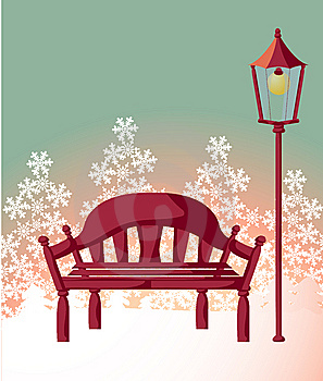 Wood Chair ,streetlight ,snowflake Stock Photo - Image: 10117040