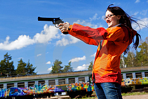 Woman And Gun Royalty Free Stock Photo - Image: 10117325