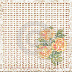 Linen Background With The Embroidered Roses Stock Photo - Image: 10117940