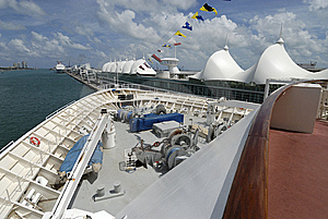 Bow Of A Cruise Ship In Port Royalty Free Stock Image - Image: 10121706