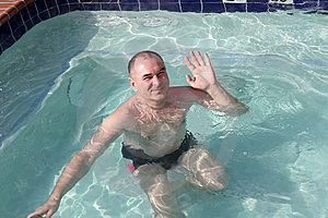 Man Poses In Pool Stock Images - Image: 10122844