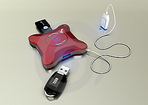 4 Port USB Hub Royalty Free Stock Photo - Image: 10129875