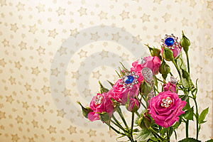 Pink Roses With Jewellery Royalty Free Stock Images - Image: 10130449