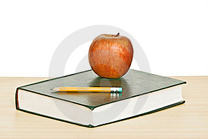Apple And Pencil On Top Of Book Royalty Free Stock Photos - Image: 10132998