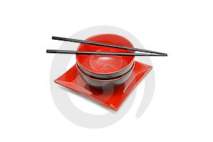Black Chopsticks On Two Japanese Bowls And Square Stock Photos - Image: 10133933