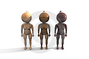 Three Wooden Feminine Characters - 3DThree Wooden Royalty Free Stock Photography - Image: 10141707