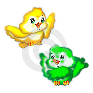 The Drawn Fluffy Birds Royalty Free Stock Photography - Image: 10144877