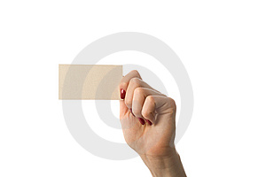 Woman's Hand With  Business Card Royalty Free Stock Photography - Image: 10146487