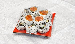 Homemade Inside-out Sushi With Red Caviar On Stock Photography - Image: 10150472