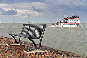 A Bench And The Boat In The Netherlands Royalty Free Stock Photos - Image: 10151968
