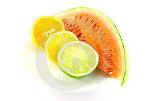 Watermelon With Lemon, Lime And Orange Royalty Free Stock Photos - Image: 10154878