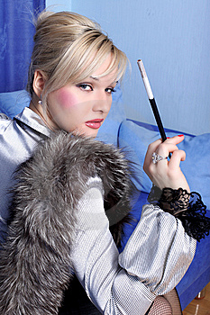 Girl With Cigarette Stock Photo - Image: 10157170
