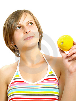 Cute Lady With Citrus Fruit Royalty Free Stock Photo - Image: 10157565