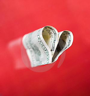 Heart From Hundred Dollars Stock Image - Image: 10158411