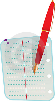 One Address Book Sheet And Red Pen Royalty Free Stock Images - Image: 10159979