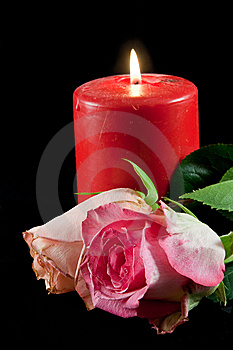Candle And Rose Stock Image - Image: 10160531