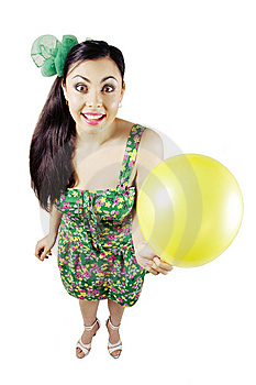 Happy Woman With Balloon Stock Images - Image: 10167864