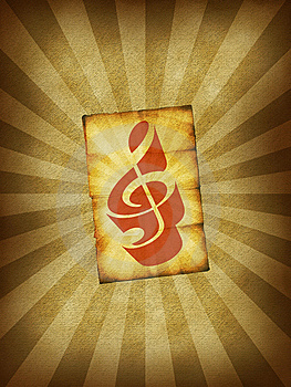Burst Paper With Treble Clef Stock Photography - Image: 10169362