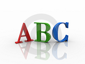 3D RGB ABC With Reflection Royalty Free Stock Photos - Image: 10169788