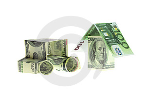 The Car And The House Made Of Dollars And Euro Royalty Free Stock Images - Image: 10169839