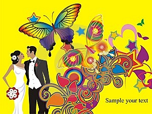 Beautiful Wedding Couple Card Royalty Free Stock Images - Image: 10170429